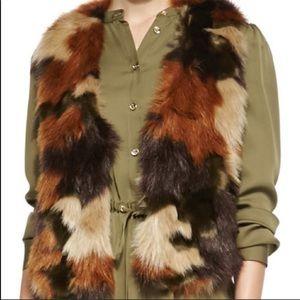 Michael Kors camo print faux fur vest size L
